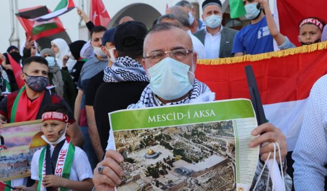 İSRAİL'İN MESCİD-İ AKSA'YA VE FİLİSTİN'E SALDIRILARI PROTESTO EDİLDİ