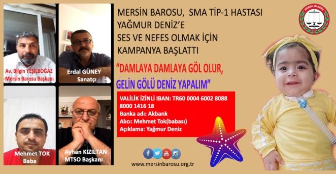MERSİN BAROSU SMA TİP-1 HASTASINI YAŞATMAK İÇİN KAMPANYA BAŞLATTI